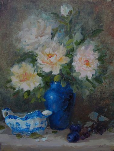 peonies with gravy boat